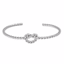 Twisted Silver Knot Bracelet, Silver Plated Twist Unity Love Knot Bracelet - $9.00