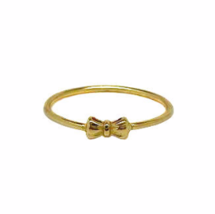 Tiny Gold Bow Ring, Dainty Gold Bow Tie Ring, Ribbon Bow Rings, Gifts fo... - £13.38 GBP