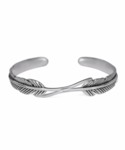 Sterling Silver Feather Cuff Bracelet, Adjoining Feathers Bangle - $35.00