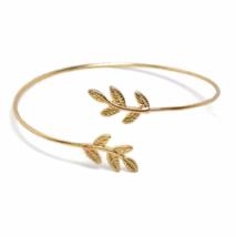 Thin Gold Adjustable Olive Leaves Cuff Bracelet, Minimalist Leaf Bangle ... - $8.65