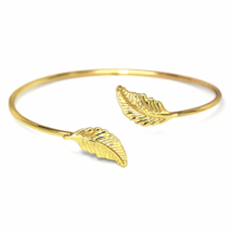 Gold Adjustable Double Leaf Cuff Bracelet, Minimalist Nature Bangle Brac... - $10.00