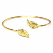 Gold Adjustable Double Leaf Cuff Bracelet, Minimalist Nature Bangle Brac... - $10.00