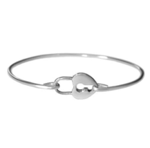 Silver Heart Lock Bracelet, Silver Plated Key Lock Bangle Bracelet - $7.00