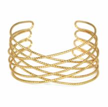 Gold Textured Criss Cross Cuff Bracelet, Delicate Wire Cuff Bracelet - $7.85