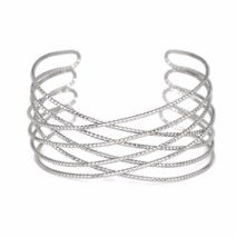 Silver Textured Criss Cross Cuff Bracelet, Delicate Silver Plated Wire Cuff - $7.85