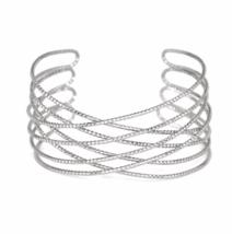 Silver Textured Criss Cross Cuff Bracelet, Delicate Silver Plated Wire Cuff - $7.85