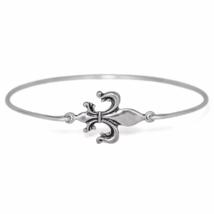 Silver Fleur De Lis Bracelet, Silver Plated Royal Flower Charm Bangle Br... - $7.00