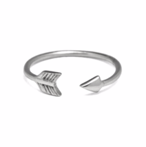 Open Sterling Silver Arrow Midi Ring, Silver Knuckle Ring, Delicate Arro... - $12.00