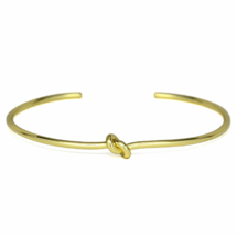 Thin Gold Knot Cuff Bracelet, Delicate Adjustable 18K Gold Plated Love Knot - $12.00