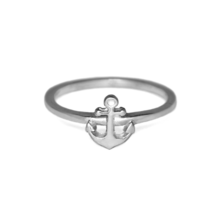 Silver Anchor Ring, Solid 925 Sterling Silver Ring, Gift - $14.00