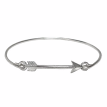 Thin Band Silver Arrow Bracelet, Silver Plated Arrow Head Thin Band Brac... - $7.00