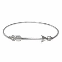 Thin Band Silver Arrow Bracelet, Silver Plated Arrow Head Thin Band Brac... - $7.00
