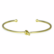 Thin Gold Knot Cuff Bracelet, Delicate Adjustable 18K Gold Plated Love Knot - $10.00