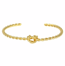 Twisted Gold Knot Bracelet, Gold Plated Twist Unity Love Knot Bracelet - $9.00