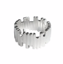 Sterling Silver Jagged Lined Ring, Wide Band 925 Sterling Silver Rings - $16.65