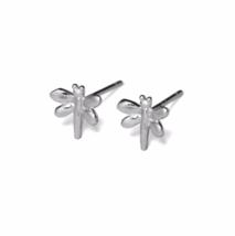 Silver Dragonfly Stud Earrings, Solid 925 Sterling Silver Earrings, Dragonflies  - $9.85