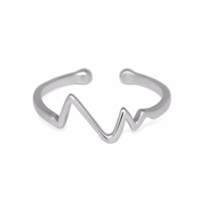 Adjustable Silver Heartbeat Ring, 925 Sterling Silver Adjustable Zig Zag... - $12.85