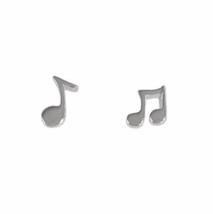 Petite Musical Note Stud Earrings, Small 925 Sterling Silver Earrings - $11.50