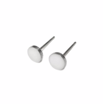Petite Pure White Stud Earrings with Sterling Silver Posts and Backs - $13.50