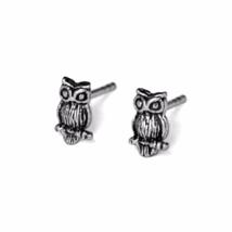 Silver Owl Stud Earrings, 925 Sterling Silver Jewelry, Oxidized Animal Studs - $8.65