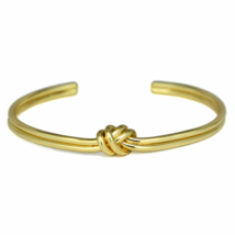 Gold Tied Knot Cuff Bracelet, Adjustable Gold Tone Love Knot Bracelet - $9.50