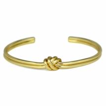 Gold Tied Knot Cuff Bracelet, Adjustable Gold Tone Love Knot Bracelet - $9.50
