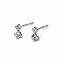 Tiny Cubic Zirconia Stud Earrings, Solid 925 Sterling Silver CZ Earrings - $10.00