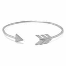 Silver Arrow Cubic Zirconia Bracelet, 925 Solid Sterling Silver CZ Arrow... - $33.00