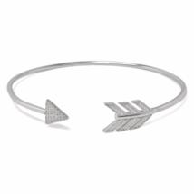 Silver Arrow Cubic Zirconia Bracelet, 925 Solid Sterling Silver CZ Arrow... - $33.00