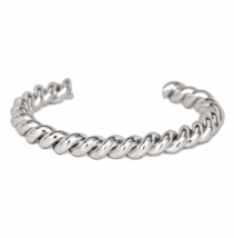 Silver Twisted Cuff Bracelet, Stacking Bracelets, Gift Ideas - $10.00