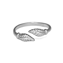 Sterling Silver Leaves Ring, Solid 925 Sterling Silver Double Leaves Mid... - $13.50