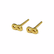 Tiny Gold Infinity Stud Earrings, Dainty Figure 8 Eternity Studs, Gifts for Her - $13.65