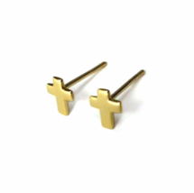 Small Gold Cross Stud Earrings, Gold Plated 925 Sterling Silver Cross Studs - $12.50
