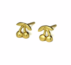 Gold Cherry Stud Earrings, Gold Cherries, Fruit Jewelry - $11.50
