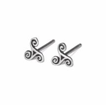 Silver Triskele Stud Earrings, 925 Sterling Silver Studs, Oxidized Celtic Spiral - $12.50