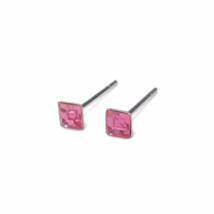 Square October Birthstone Stud Earrings, 925 Sterling Silver Rose Pink Earrings - $8.65+