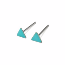 Tiny Turquoise Triangle Stud Earrings with Sterling Silver  Posts and Backs, 3mm - $12.50