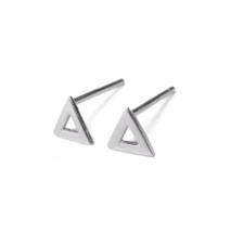 Open Triangle Stud Earrings, Triangle Outline 925 Sterling Silver Earrings - $12.50
