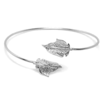 Thin Silver Adjustable Leaf Cuff Bracelet, Minimalist Nature Bangle Brac... - $10.00