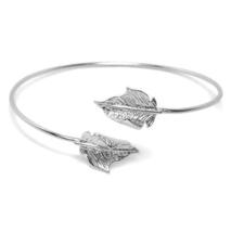 Thin Silver Adjustable Leaf Cuff Bracelet, Minimalist Nature Bangle Brac... - $10.00