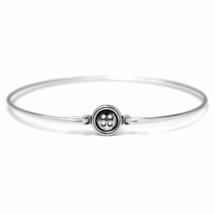 Thin Silver Button Bracelet, Silver Plated Button Bangle Bracelet - $7.00