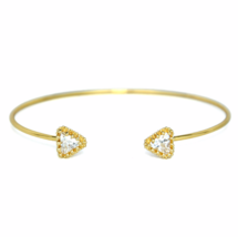 Adjustable Gold Open Dual Triangle CZ Bracelet,  Minimalist Triangle Bra... - $8.00