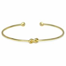 Tiny Gold Eternity Knot CZ Cuff Bracelet, Adjustable Gold Infinity Love ... - $10.50