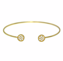 Thin Adjustable Gold Open Circle CZ Bracelet, Minimalist Delicate Crysta... - $8.00