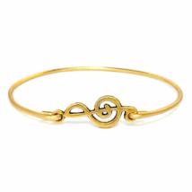 Thin Gold Treble Clef Bracelet, Gold Plated Music Charm Bangle Bracelet - $7.00