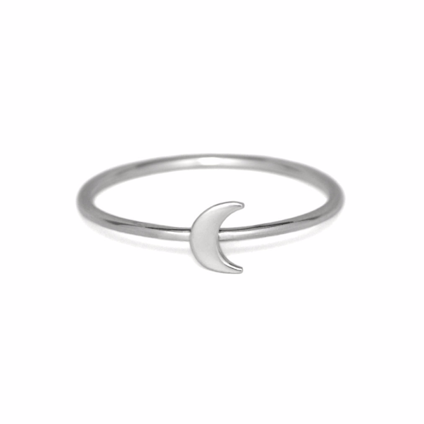 Silver Crescent Moon Ring, Solid 925 Sterling Silver Stacking Rings, Moon Ring