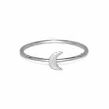 Silver Crescent Moon Ring, Solid 925 Sterling Silver Stacking Rings, Moo... - £10.26 GBP