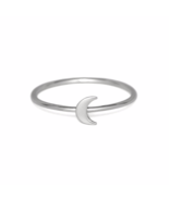 Silver Crescent Moon Ring, Solid 925 Sterling Silver Stacking Rings, Moo... - £10.24 GBP