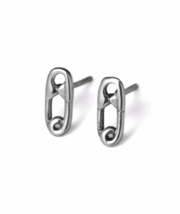 Silver Safety Pin Stud Earrings, Solid 925 Sterling Silver Safety Pin Earrings,  - $11.00