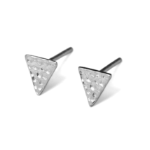 Hammered Sterling Silver Stud Triangle Earrings, 925 Sterling Silver Triangle - $12.00